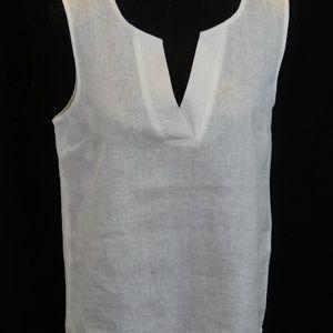 White Linen V neck top Harve Benard Medium NWT